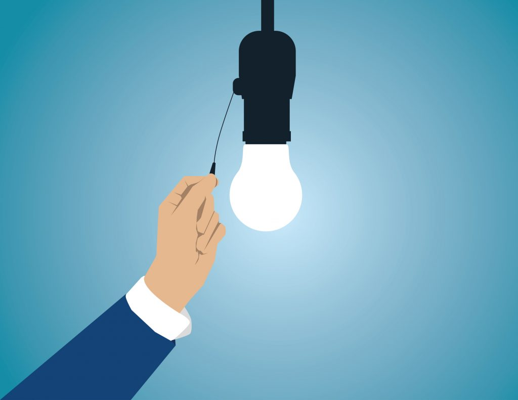 Turn on light. Business concept illustration. Vector flat