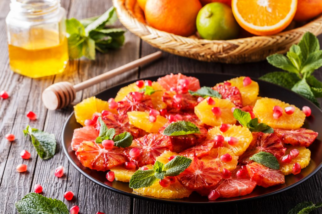 Homemade Citrus Salad with Grapefruit and Oranges.