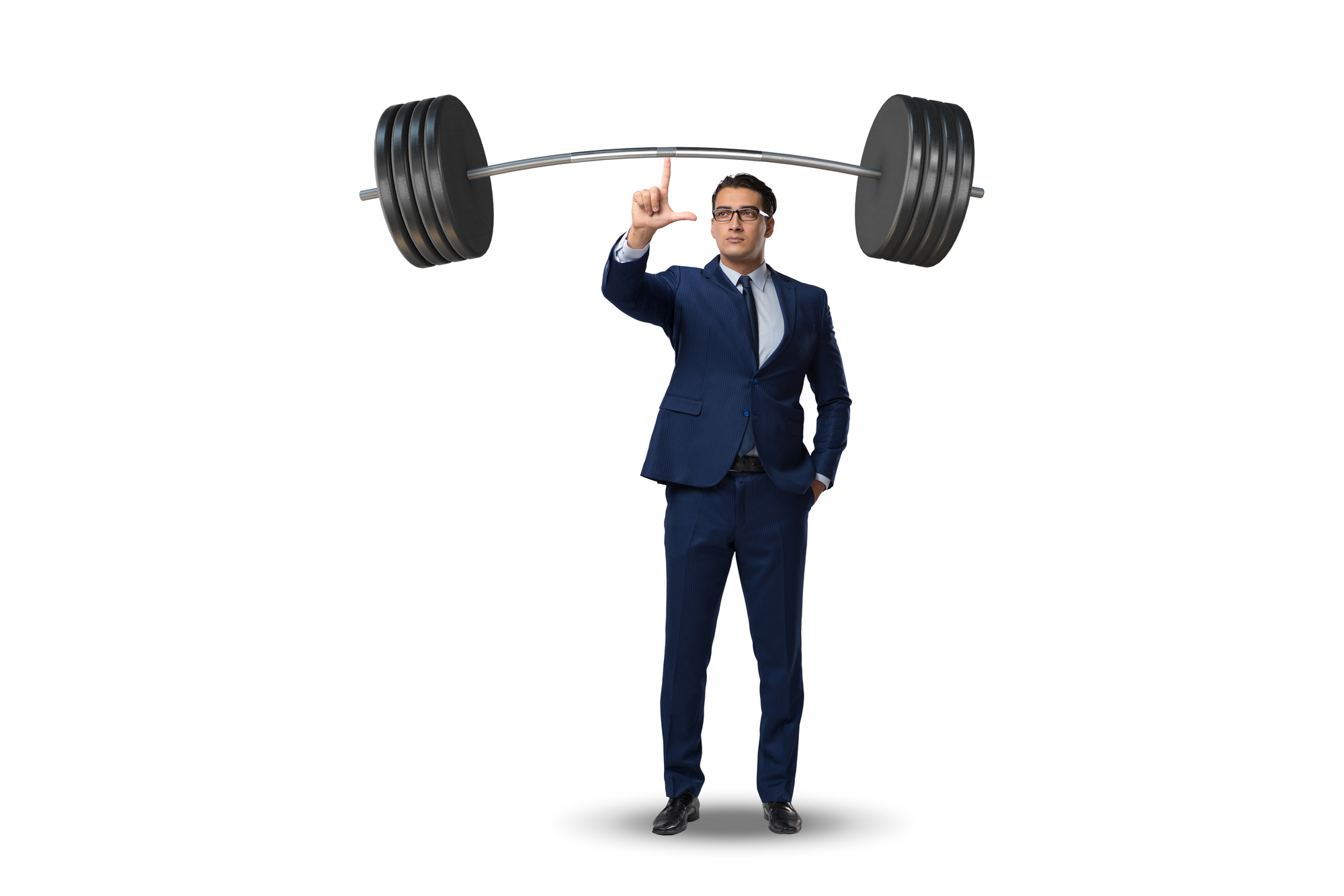 Businessman with barbell in heavy lifting concept